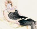 CELIA IN A BLACK SLIP RECLINING, PARIS, DEC 1973